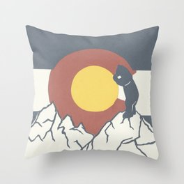 Colorado, the Big Blue Bear and the Rockies Throw Pillow