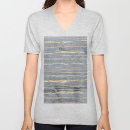 Watercolor Gradient Gold Foil III Unisex V-Neck