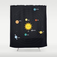 solar system Shower Curtains featuring Solar System by Sara Showalter