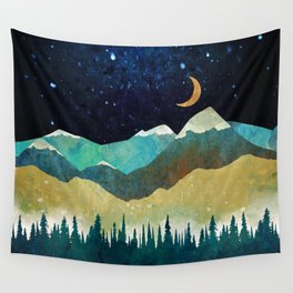 Snowy Night Wall Tapestry
