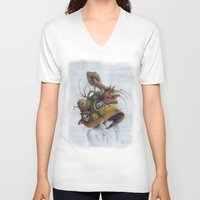 hat V-neck T-shirts featuring Hat by Veronica Casas