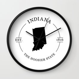 Indiana - The Hoosier State Wall Clock