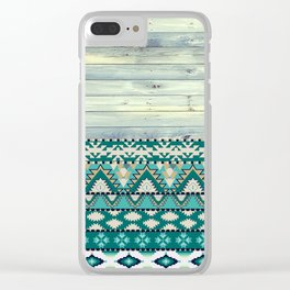 Aztec Pattern on Wood Panel NOT REAL WOOD - Triba Clear iPhone Case