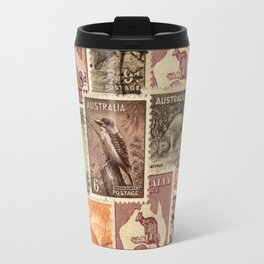 Vintage Australian Postage Stamps Collection Travel Mug