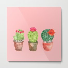 Three Cacti watercolor pink Metal Print