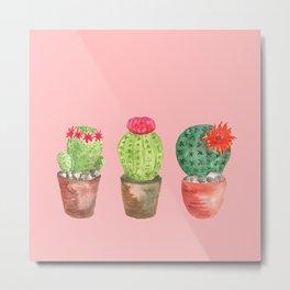 Three Cacti watercolor pink Metal Print