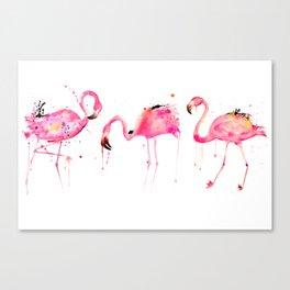 Flamingos making a splash! Canvas Print