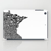 minnesota iPad Cases featuring Typographic Minnesota by CAPow!