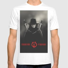 V for Vendetta (e2) MEDIUM White Mens Fitted Tee