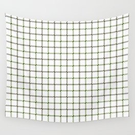 Fern Green & Sludge Grey Tattersall on White Background Wall Tapestry