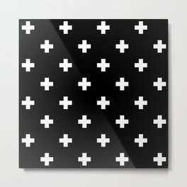 Swiss cross pattern white on black Metal Print