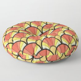 Radiant Sunshine Art Deco Pattern Floor Pillow