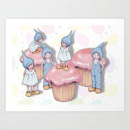 Gnomes with Cupcakes, Original Fantasy Art Art Print