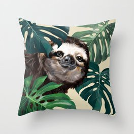 Sneaky Sloth with Monstera Throw Pillow
