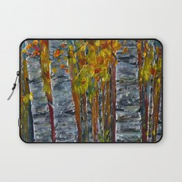 Autumn Aspen Trees with a Palette Knife Laptop Sleeve