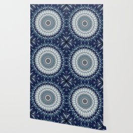 Indigo Navy White Mandala Design Wallpaper