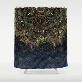 Stylish Gold floral mandala and confetti Shower Curtain