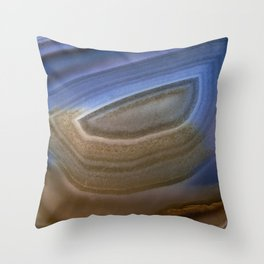 Blue and orange eye agate Throw Pillow