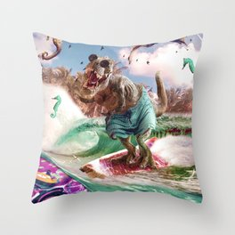 Dinosaur Surf T-Rex Surfing Throw Pillow