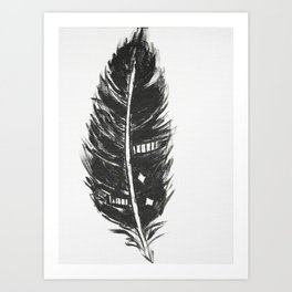 Black feather painting - abstract black feather Art Print