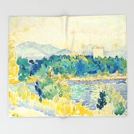 Mediterranean Landscape With a White House Watercolor Landscape Painting Throw Blanket