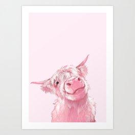Highland Cow Pink Kunstdrucke