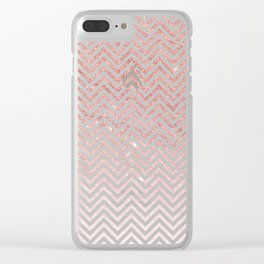 Stylish chic faux pink glitter chic chevron Clear iPhone Case