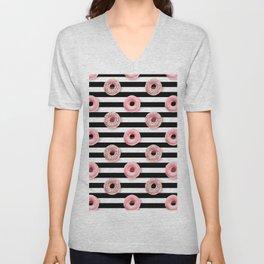 Pink donuts pattern on a black stripes pattern Unisex V-Neck