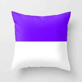 White and Indigo Violet Horizontal Halves Throw Pillow