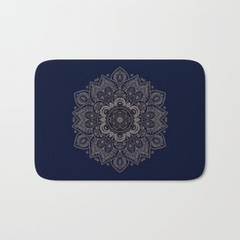 Temptation - Mandala 1 on Blue Backgound  Bath Mat