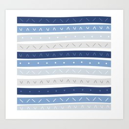 Bowie Blue Stripe Art Print