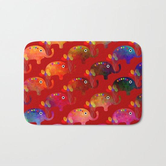 Colorful Elephants Bath Mat