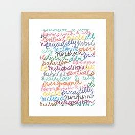 Handwritten tube lines Framed Art Print