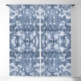 Cyanotype Abstract Blackout Curtain
