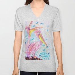 Pink pelicans Unisex V-Neck