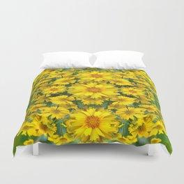 YELLOW COREOPSIS FLOWERS GREEN GARDEN Duvet Cover