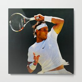 Nadal Tennis Over the Head Forehand Metal Print