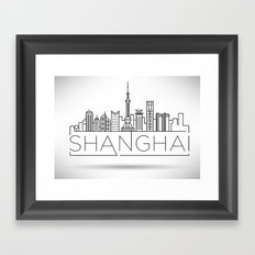 Linear Shanghai Skyline Framed Art Print