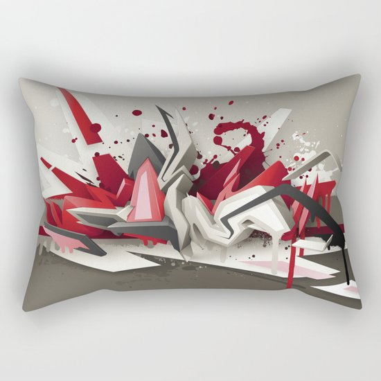 Red Metal Rectangular Pillow