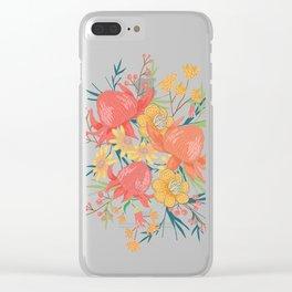 Australian Florals on Blue Clear iPhone Case