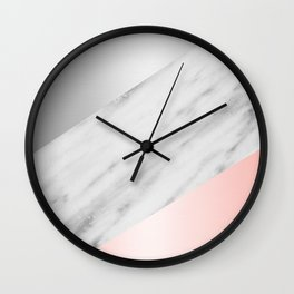 Pink Grey and Marble Collage Wall Clock