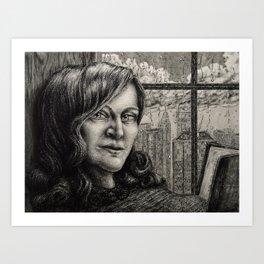 Untitled - charcoal drawing - pretty girl Art Print