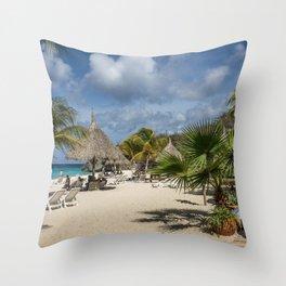 Curacao - Caribbean Island Beach Scene Throw Pillow