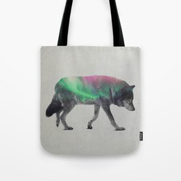Wolf In The Aurora Borealis Tote Bag