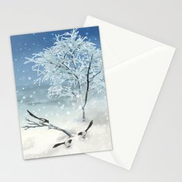 Magpie Winter Landscape Stationery Cards