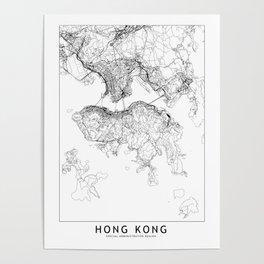 Hong Kong White Map Poster