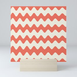 Pantone Living Coral & Cannoli Cream Soft Zigzag Rippled Horizontal Line Pattern Mini Art Print