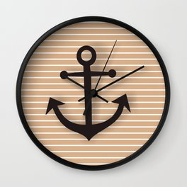 Wall Decor Bathroom Decoration Anchor Poster brown and black Sea Theme Ocean Boat Home Decor Wall Clock