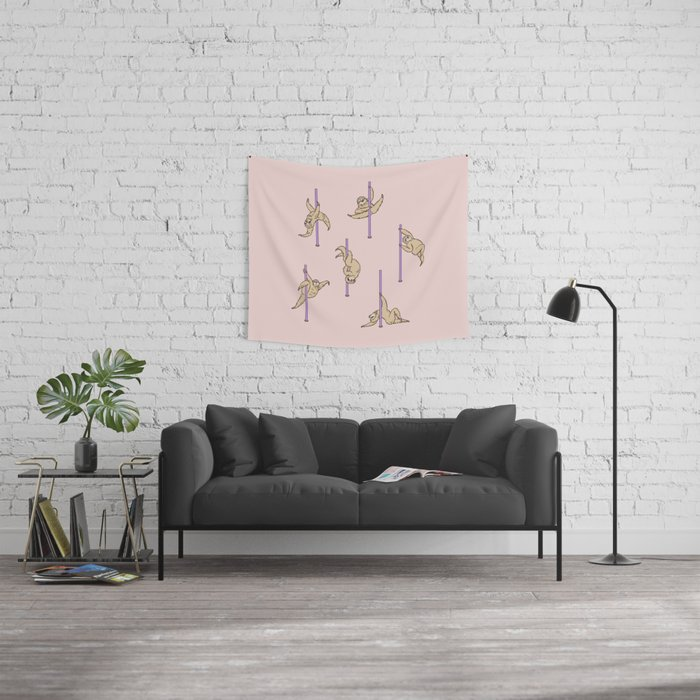 Sloths Pole Dancing Club Wall Tapestry