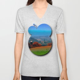 A hunting perch, a village and some vivid scenery Unisex V-Neck